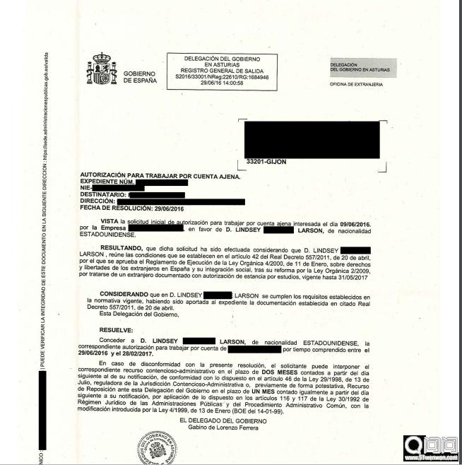 西班牙留学签证中的工作许可,西班牙决议信
